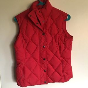 Land's End red puffer vest women XS 2-4 w/buttons